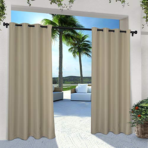 Exclusive Home Curtains Indoor/Outdoor Solid Cabana Grommet Top Curtain Panel Pair, 54x108, Taupe, 2 Count
