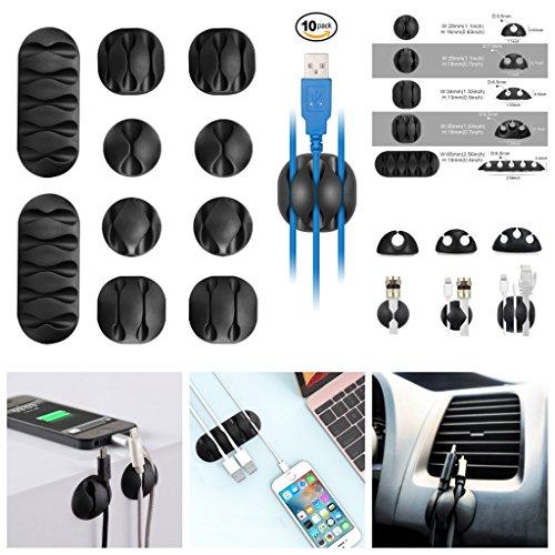 Cable Clips Cord Holder Cable Organizer Cord Keepers 10 Pack Computer Desk DIY Kit Self Adhesive Phone Charger, USB, Wire Hooks Accessories Management System for Car, Home, Office, Cubicle, Gift-Idea