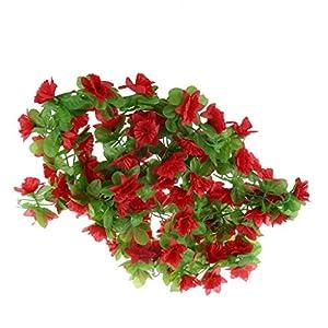 homozy 2pcs Artificial Silk Daffodil Flower Hanging Garland Ivy – Red, 230cm
