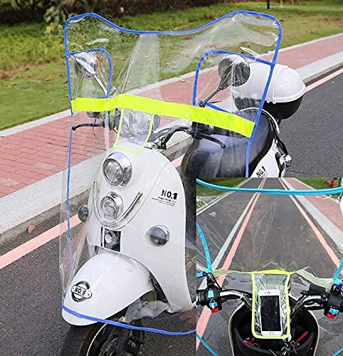 JXH Coche eléctrico Simple Transparent Windshield, Cubierta Impermeable de Lluvia de Scooter, Cubierta de la sombrilla de la Motocicleta eléctrica,Azul