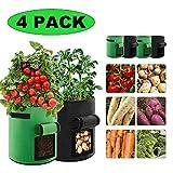 Cobiz 4 Pack Pflanzen Tasche, Kartoffel Pflanzsack Tasche, Dauerhaft Atmungsaktiv Beutel Gemüse Wachsen Sack mit Beobachtungsfenster, 24L/7Ga, (2 Grün & 2 Schwarz) (10-15 Tage