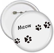 Cat Meow Animal Black Footprint Art Paw Print Round Pins Badge Button Clothing Decoration Gift 5pcs