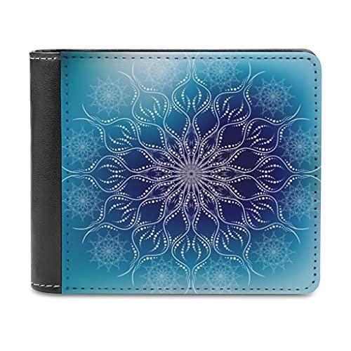 Graduación Azul Mandala Flores Cuero Cartera para Mujer Hombre Billetera Billetera Bloqueo Minimalista Billetera Regalo para amigas, blanco, talla única,