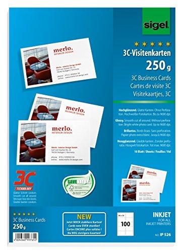SIGEL IP526 Visitenkarten 3C für InkJet, 100 Stück (10 Blatt), hochweiß, hochglänzend, glatter Schnitt, 250 g, 85x55 mm