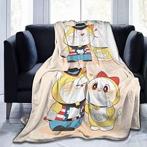 HYKCSS Doraemon Nobita Manta De Dibujos Animados Franela Coral Fleece Ligero, Suave Y Cómodo Manta De Cubierta Niños Adultos Four Seasons Habitación con Aire Acondicionado Sofá Camping Playa Coche