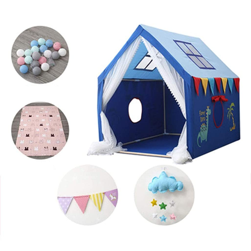 部分的に散髪降伏HLMIN キッズテント王子の城のカーテン、すべての年齢の子供のプレイハウスのおもちゃの男の子の女の子のおもちゃの屋内屋外、プレイハウスのおもちゃのテント ( Color : Blue-A )