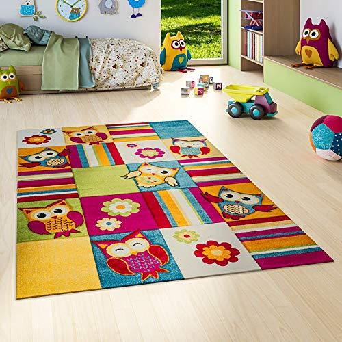 Savona Kinder Teppich Kids Lustige Eulen Bunt in 5 Größen