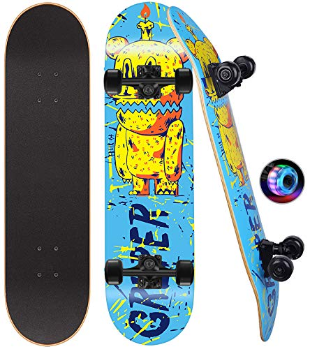Gruper Skateboards for TeensKids Skateboard with Colorful Flashing Wheels| 7 Layer Canadian Maple| 31#039#039x 8#039#039 Standard and Tricks Skateboards for Girls Beginners Birthday Bear 31#039#039x 8#039#039