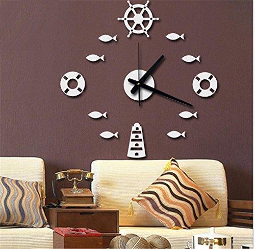 MZDZR Moda creativa acrílico 3D DIY peces reloj pared adhesivo salón dormitorio...