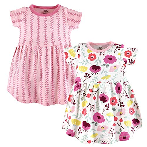 Touched by Nature Girls' Organic Cotton Short-Sleeve Dresses, Botanical Short-Sleeve, 12-18 Months