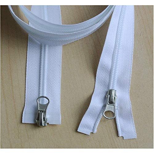 Lalian 1.2m-10m White Afneembare Zipper, No.5 Open-End Naaien Zipper, Kleding Slaapzak Tent Spreien Naaiaccessoires (Color : Double Sliders, Size : 10m)