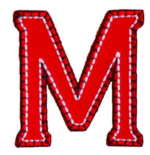TrickyBoo M 5cm hoch rot blau Buchstabe Aufbügler Patch Buchstabe Stoff zum Aufbügeln auf Geburtstag Geburtsgeschenk Flicken Dekorieren