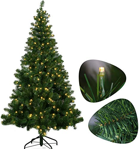 OUSFOT Pre-Lit Christmas Trees 6.5ft 320 LED Christmas Trees Lights 8 Modes Fairy Light Artificial Tree Easy Assembly Foldable with Metal Stand 6.5ft