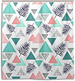 DHGFH Duschvorhang Indigo Leaves Triangles Shower Curtain Waterproof Polyester Decoration Bathroom Curtain with Hooks 71x71 Inch