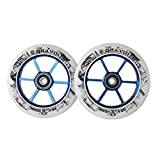 GRAVITI One Pair 110mm Pro Stunt Scooter Wheels with ABEC-9 Bearings CNC Metal Core (2pcs)(White pu Blue core)