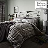 Catherine Lansfield Kelso Cotton Rich King Duvet Set Charcoal...