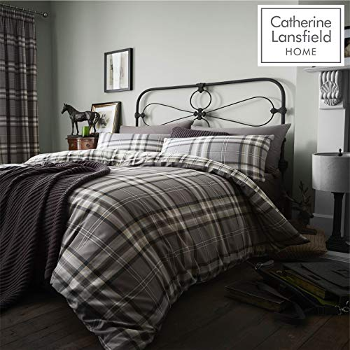 Catherine Lansfield Kelso Cotton Rich King Duvet Set Charcoal