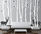 Innovative Stencils Birch Tree Wall Decal Forest with Snow Birds and Deer Vinyl Sticker Removable (9 Trees) #1161 (White Trees - Dark Gray Animals, 84' (7 ft) Tall)