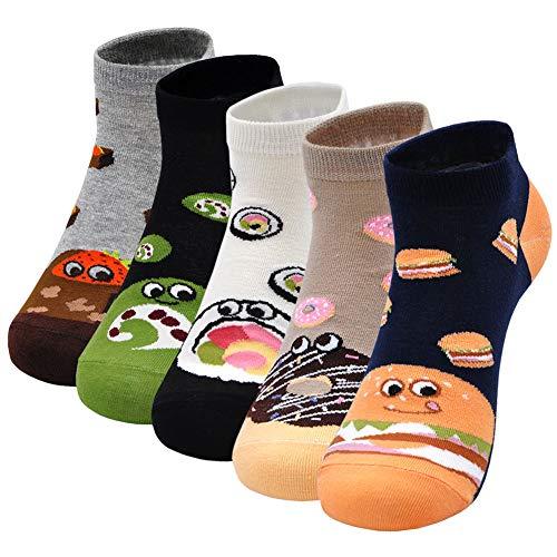 Lustige Socken Damen Bunte Socken aus Baumwolle, Witzige Socken Damen Tier Socken Frauen Lustige Socken Weihnachtssocken, 5 Paare, EU 37-43
