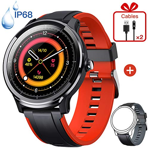 KOSPET Smartwatch (zwart + donkergroene band), Red + Black Strap