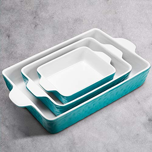 IPOW 3-Piece Ceramic Baking Dish, Value Three Pack Thick Porcelain Rectangular Oven to Table Bakeware Cookware Set Casserole Dishes Lasagna Pans for Cooking & Serving, Dishwasher Safe, Aquamarine