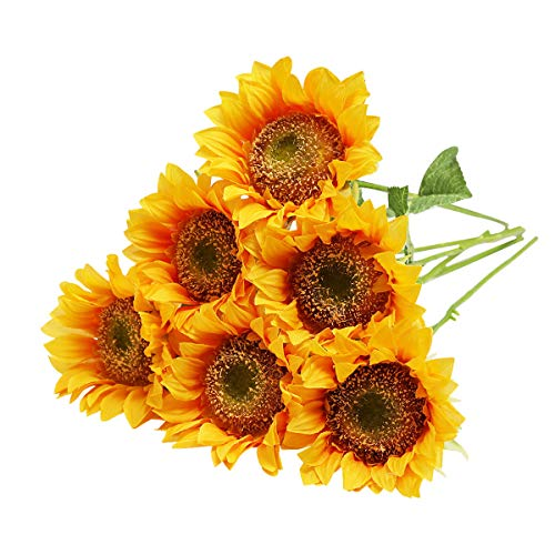Tifuly Artificial Sunflower Bouquet Fake Silk Flowers Large Sunflowers for Bridal Wedding Bouquet Home Office Decor (02Yellow)
