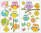 Samunshi® 16x Wandsticker Eule Wandtattoo Kinderzimmer Mädchen Jungen Kinder Wandtattoo Babyzimmer Deko Junge Wall Stickers 2X 16x26cm