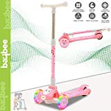 Baybee Skate Scooter for Kids Toddlers 3 LED Wheels Lightweight-Folding Kick Kids Scooty Scooter Tricycle for Indoor & Outdoor Fun with Brake Cycle for Kids with Adjustable Height Age 3-8 (Pink)