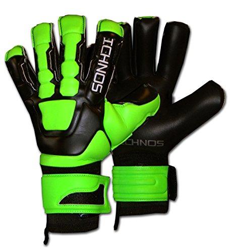 ICHNOS Braja Voetbal keepershandschoenen met vinger plaatjes Zwart/Groen
