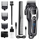Silver Homme Hair Clippers for Men Professional Cordless Clippers for Hair Cutting Beard Trimmer Barbers Grooming Kit Rechargeable, LED Display