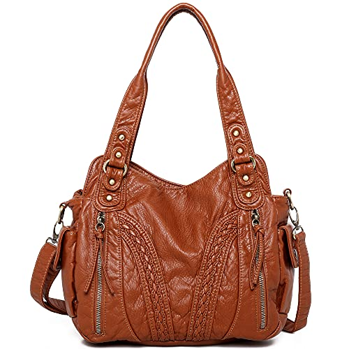 Montana West Concealed Carry Shoulder Bag For Women Washed Leather Crossbody Purses Handbags Handgun Tote Satchel Bags Brown MBB-MWC-019BR