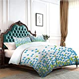 4pcs Bedding Set Satin Sheets bedclothes flat sheet Mosaic Grid Pattern Pixel Art Digital Design Graphic Squares Illustration Bed Sheets King Size Deep Pocket Lime Green Aqua White W80'xL90'