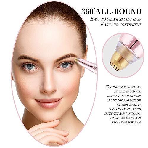 CSHBD Sourcil Cheveux Rasoir Brows Tondeuse sans Douleur pour Femme, épilation électrique des Sourcils(l'or Rose)