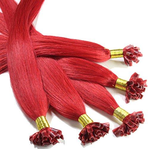 Hair2Heart 25 x 0.5g Extensiones de queratina - 40cm, colore #rojo, liso