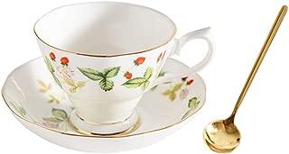 ROMANCE DAYS Bone china tea cups,tea cups and saucers sets,tea cup set,1 cup and saucer with spoon tea set (Green)