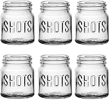 Circleware 42785 Kickers Block Embossed Shot Glasses, Set of 6, 4.9 Ounce, Clear Limited Edition Whiskey Drinking Cups