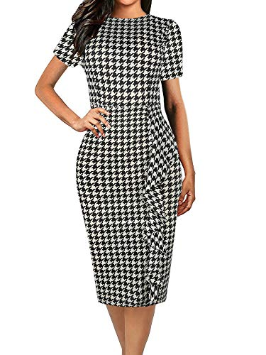 oxiuly Women's Classic Houndstooth Short Sleeve Round Neck Bodycon Church Pencil Casual Midi Summer Dress OX055 (M, Houndstooth)