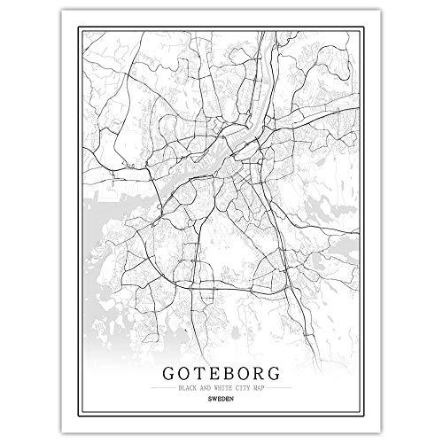 SLYBDA Sverige Goteborg stadskarta väggkonsttryck canvas affisch bild modern svart vit minimalistisk heminredning vardagsrum hem sovrum nordisk stil rymd dekoration 40 x 50 cm