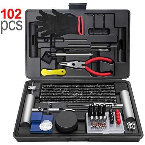 Ayleid 102Pcs Tire Repair Kit -Heavy Duty Flat Tire Puncture Repair Kit, forCar,Motorcycle,ATV,UTV, RV, Trailer, Tractor, SUV, Etc.