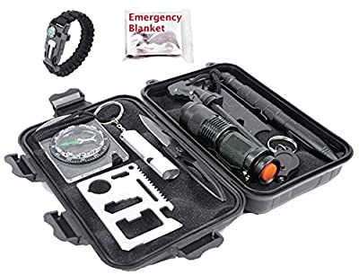 Emergency Survival Kit 12 in 1, Professional Survival Tools Outdoor Survival Gear for Hiking Climbing Camping Hunting by TwoPi