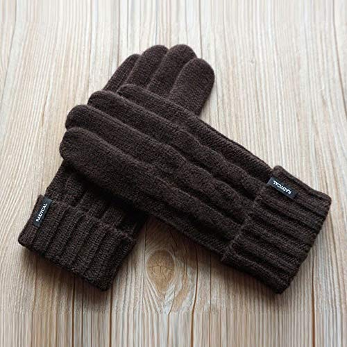 Sksngf Handgestrickte Business Casual Fäustling verdicken Wollhandschuhe Herren-Plus-Velvet Touch Screen Handschuhe Fahren Anti-Rutsch-Warm Fäustling Winter Outdoor warme Handschuhe