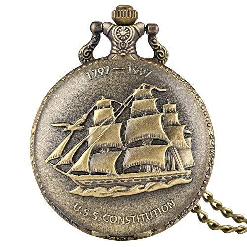 Nfudishpu Reloj Bolsillo Vintage Envío Lona Bronce Collar Cuarzo Reloj Bolsillo niños Reloj Bolsillo con Esfera y Cadena Blancas