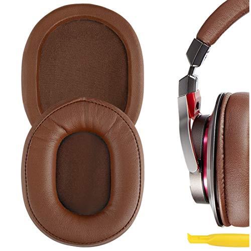 Geekria QuickFit Almohadillas de repuesto de cuero con proteína para ATH M50X, M50XBT, M50, M40X, M30, M20, M10, ATH-MSR7, almohadillas para auriculares, almohadillas para auriculares (marrón)