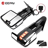 cciyu Tow Mirrors Car Mirrors LH Left RH Right Chrome Towing Mirrors Compatible with 2014-2018 Chevy GMC 1500 2015-2019 Chevy GMC 2500 HD 3500 HD with Power Heated Turn Signal Light
