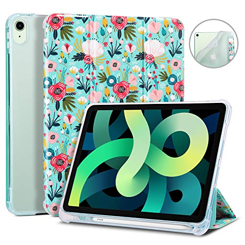 ULAK Compatible with iPad Air 4 10.9 inch 2020 Case with Pencil Holder, Slim Trifold Lightweight Smart Stand with Auto Sleep/Wake Premium Shockproof Cover for iPad Air 4th Generation, Floral
