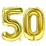 Siumir Globos de Número Número 50 Globo Globos Digital Grande Dorado De Aluminio Globos Decoración de Fiestas de Cumpleaños
