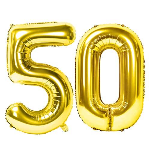 Siumir Zahlenballons Gold Number Folienballons Zahl 50 Riesenzahl Luftballons für Geburtstag, Hochzeit, Jubiläum Party Dekoration