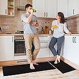 Delxo Kitchen Rug Sets,2 Piece Non-Slip Soft Super Absorbent Kitchen Mat Doormat Carpet Set,Chenille Microfiber Material, 17'x48' +17'x24' (Black)
