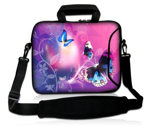 Luxburg® Design Laptoptasche Notebooktasche Sleeve mit Schultergurt & Fach für 12,1 Zoll, Motiv: Schmetterlinge im rosa Licht