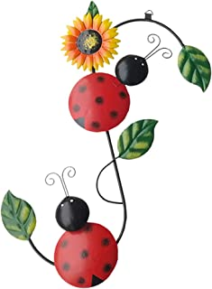 UPKOCH Metal Ladybug Wall Decor On Branch Wall Sculpture Art for Backyard Garden Lawn Porch Outdoor Decorations Hanging Ya...